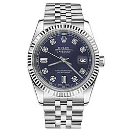 Rolex Datejust Stainless Steel With Navy Blue Dial With 8+2 Diamond 36mm Unisex Watch