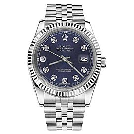 Rolex Datejust Stainless Steel With Navy Blue Dial With Diamond Accent 36mm Unisex Watch