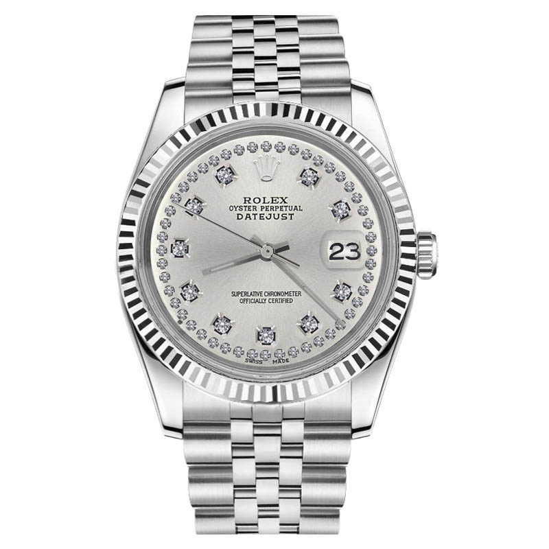 """Image of """"Rolex Datejust Stainless Steel With Silver Silver Color String Diamond"""""""