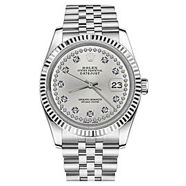 Rolex Datejust Stainless Steel With Silver Silver Color String Diamond Accent Dial 36mm Unisex Watch