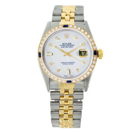 Rolex Datejust 16013 Two Tone Sapphire White Pearl Diamonds Mens Vintage Watch