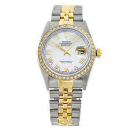 Rolex Datejust 16013 Two-Tone Mother Of Pearl Roman No. Diamond Watch