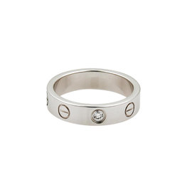 Cartier Mini Love 18k White Gold 0.05 Ct Diamond 4mm Band Ring Size 3.75