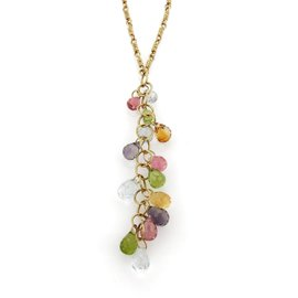 Tiffany & Co. 18k Yellow Gold Multicolor Gemstone Long Drop Pendant Necklace