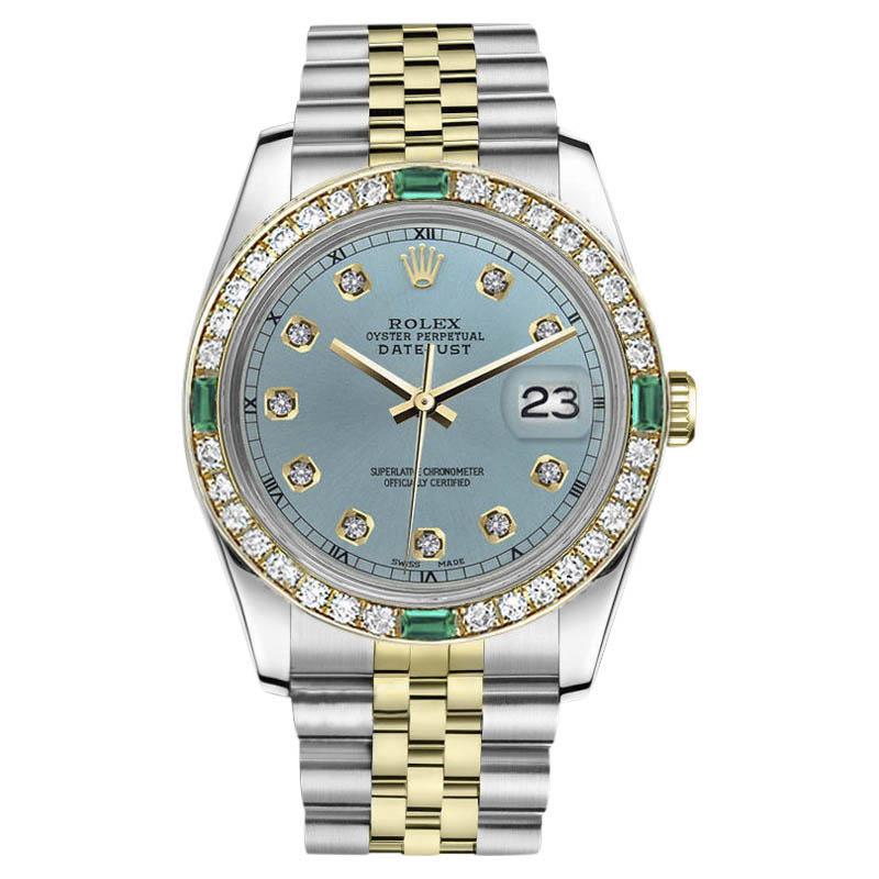 "Image of ""Rolex Datejust 18K/Stainless Steel 2Tone Emerald Diamond Ice Blue"""