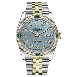 Rolex Datejust 18K/Stainless Steel 2Tone Emerald Diamond Ice Blue Dial Jubilee Womens 31mm Watch
