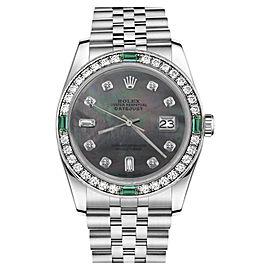 Rolex Datejust Black Mother Of Pearl 8 + 2 Diamond Emerald Stainless Steel Jubilee Womens 31mm Watch