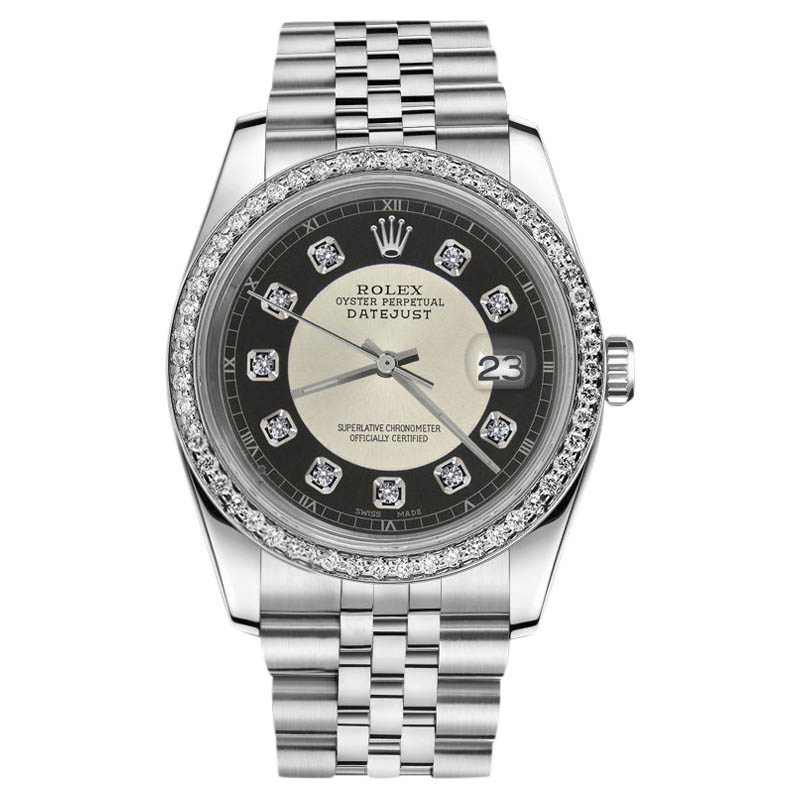 """Image of """"Rolex Datejust Silver Black 007 Dial With Diamond Stainless Steel 36mm"""""""