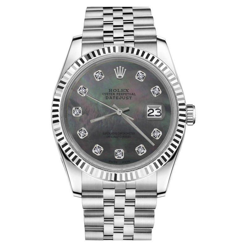 "Image of ""Rolex Datejust Black Mother Of Pearl Diamond Stainless Steel Jubilee"""