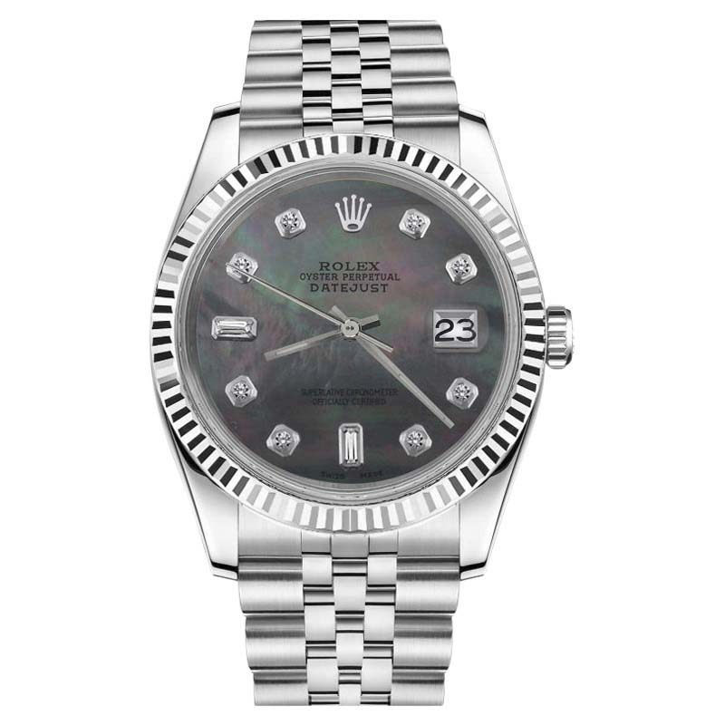 "Image of ""Rolex Datejust Stainless Steel With Black Mother Of Pearl Dial 26mm"""