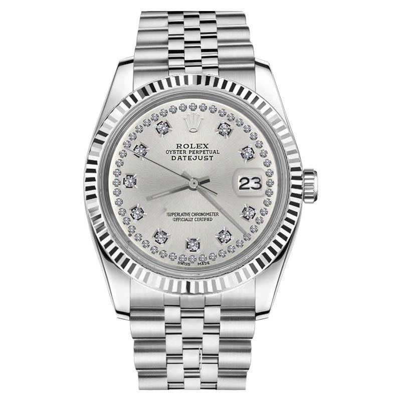 """Image of """"Rolex Datejust 18K White Gold/Stainless Steel Jubilee Silver String"""""""