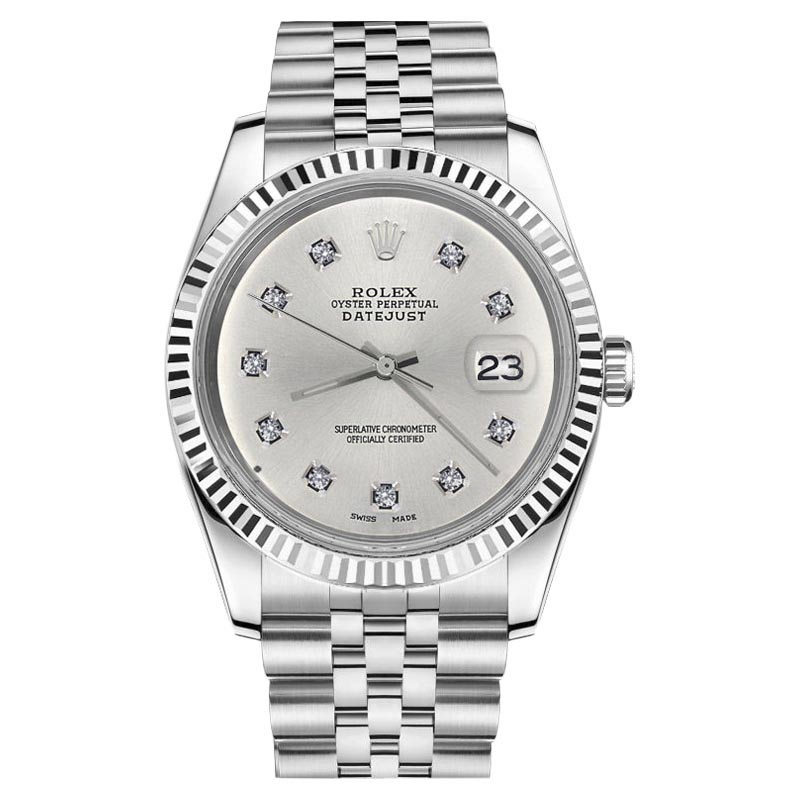 "Image of ""Rolex Datejust 18K/Stainless Steel Silver Face Classic 10 Round"""