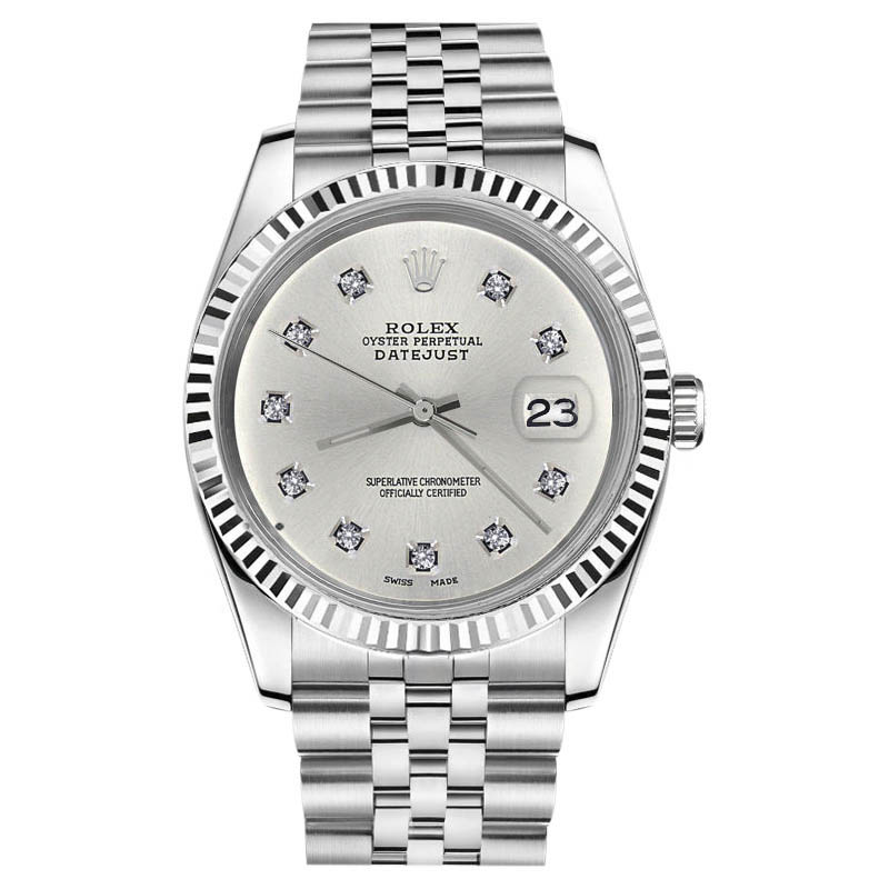 "Image of ""Rolex Datejust 18K White Gold & Stainless Steel Silver 10 Round"""
