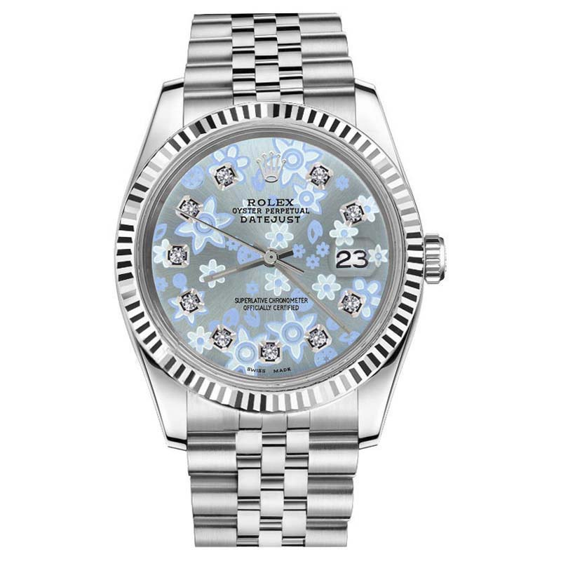"""Image of """"Rolex Datejust 18K Gold & Stainless Steel Glossy Ice Blue Flower"""""""