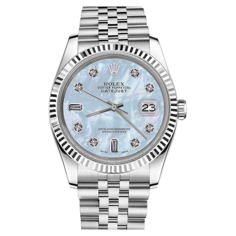 """Image of """"Rolex Datejust Stainless Steel & 18K White Gold Baby Blue Mother Of"""""""