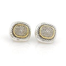 David Yurman Albion 18K Yellow Gold/925 Sterling Silver 1ct Diamond Post Clip Earrings