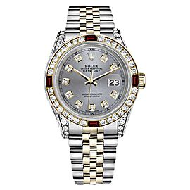 Rolex Datejust 18K Yellow Gold & Stainless Steel With Red Ruby Diamond Dial 26mm Womens Watch
