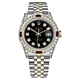 Rolex Datejust 18K Yellow Gold & Stainless Steel With Ruby Diamond Dial 26mm Womens Watch