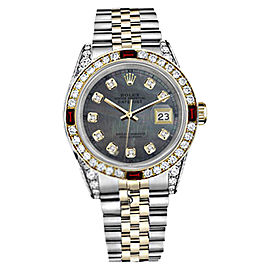 Rolex Datejust Two Tone Black Mother Of Pearl Ruby & Diamond Jubilee Dial 26mm Womens Watch