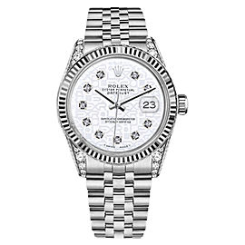 Rolex Datejust Stainless Steel White Color Jubilee Dial Diamonds 36mm Unisex Watch