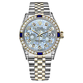 Rolex Datejust 2Tone 18K & Stainless Steel Ice Blue Flower Glossy Sapphire Diamond Womens 26mm Watch