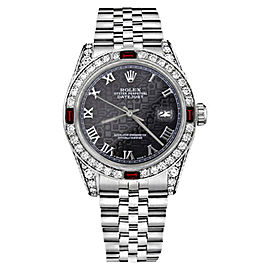 Rolex Datejust Stainless Steel Jubilee Roman Numeral Ruby & Diamonds Womens 26mm Watch