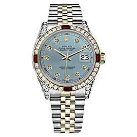 Rolex Datejust 2Tone18K Gold/Stainless Steel Ice Blue Ruby & Diamond Jubilee Womens 26mm Watch