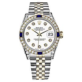 Rolex Datejust 2Tone 18K-Stainless Steel White Sapphire & Diamonds Bezel Jubilee Womens 26mm Watch