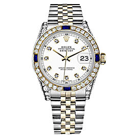 Rolex Datejust 2Tone 18K/Stainless Steel White Jubilee Sapphire & Diamond Womens 26mm Watch
