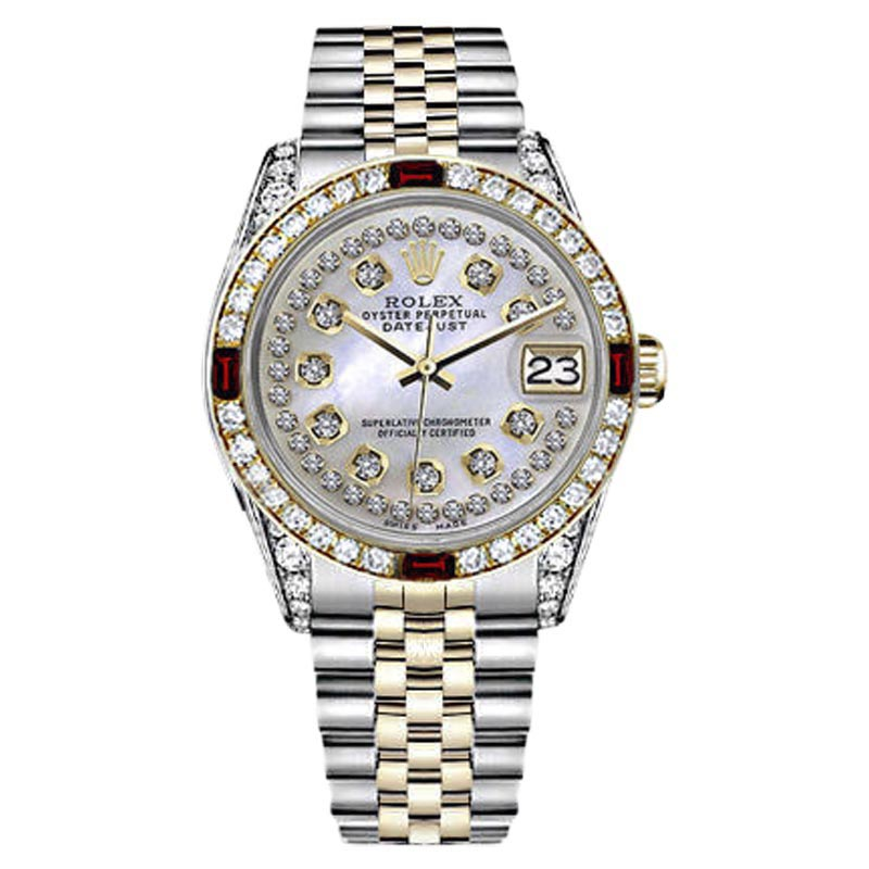 "Image of ""Rolex Datejust 2Tone 18K/Stainless Steel White Mother of Pearl String"""