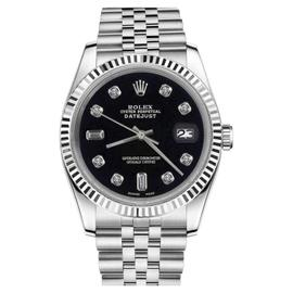 Rolex Datejust Stainless Steel Black Color Dial With Diamond Accent 36mm Unisex Watch