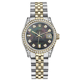 Rolex Datejust Steel/18K Gold Black Mother of Pearl 8+2 Diamond 2Tone Jubilee Unisex 26mm Watch