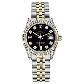 Rolex Datejust Two-Tone Steel/18K Gold Black Diamond Jubilee Womens 26mm Watch