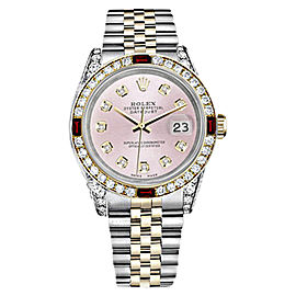 Rolex Datejust 2Tone Steel & Gold Pink Dial Ruby Diamond Jubilee Womens 26mm Watch
