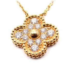 Van Cleef & Arpels Alhambra 18K Yellow Gold Diamond Pendant Necklace