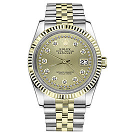 Rolex Datejust 2Tone 18K Gold Stainless Steel Champagne String Diamond Jubilee Womens 26mm Watch