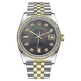 Rolex Datejust Stainless Steel/ 18K Gold Black Mother Of Pearl 8+2 Diamond Jubilee 36mm Unisex Watch