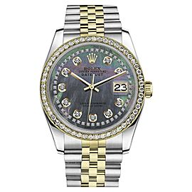 Rolex Datejust Stainless Steel/ 18K Gold Black MOP Mother of Pearl String Diamond 36mm Unisex Watch
