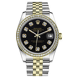 Rolex Datejust 18K Yellow Gold & Stainless Steel Diamond 2-TClassic Black 36mm Unisex Watch