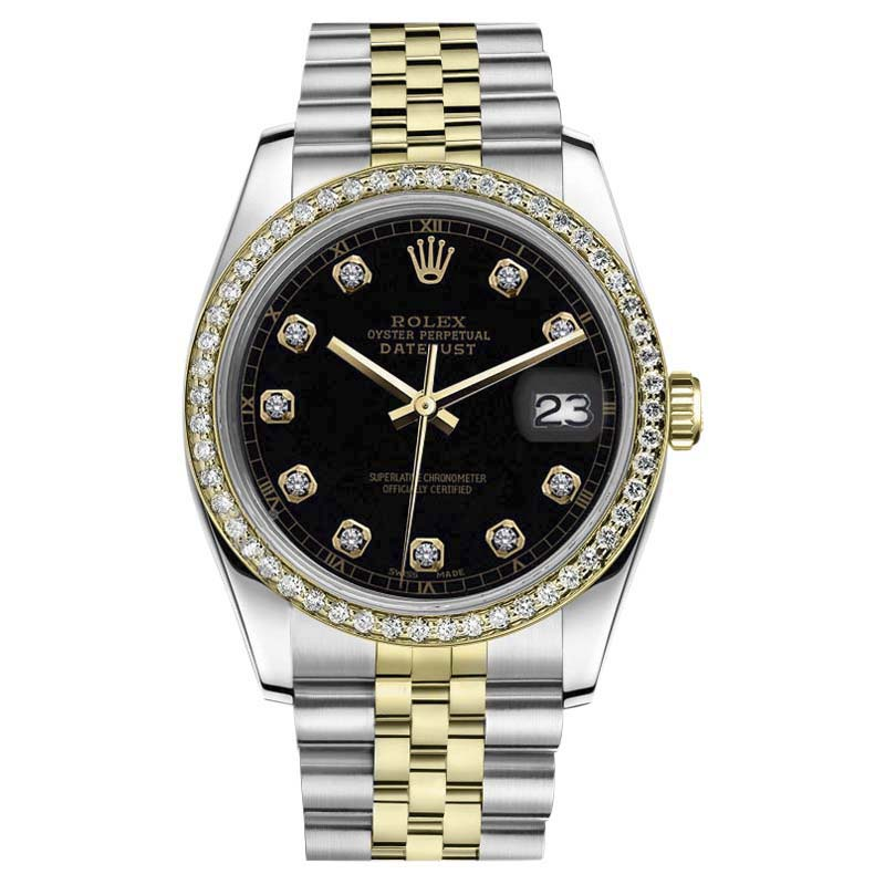 """Image of """"Rolex Datejust 18K Yellow Gold & Stainless Steel Classic Black Diamond"""""""