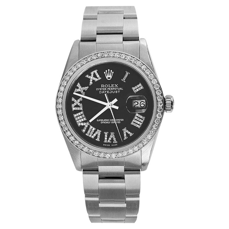 "Image of ""Rolex Datejust Stainless Steel Black Diamond Roman Numerals Oyster"""