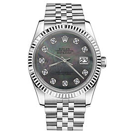 Rolex Datejust Stainless Steel Jubilee Black MOP Mother Of Pearl Diamond 26mm Womens Watch