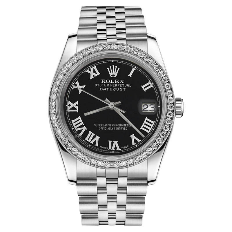 """Image of """"Rolex Datejust Stainless Steel Jubilee Oyster Black Roman Dial 36mm"""""""