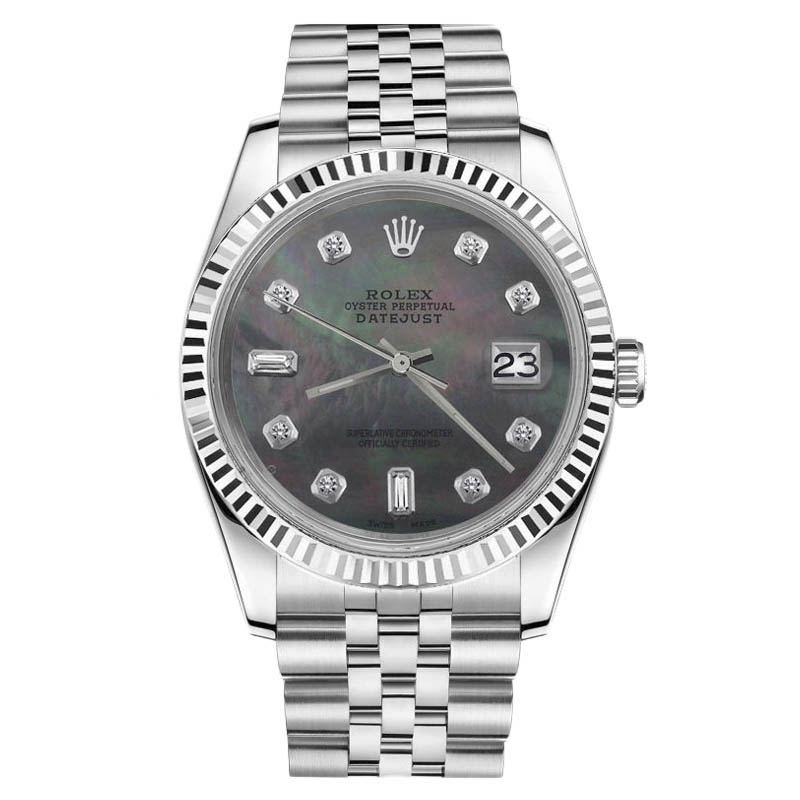 """Image of """"Rolex Datejust 18K & Stainless Steel Black MOP Mother Of Pearl 8+2"""""""