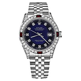 Rolex Datejust Stainless Steel Red Ruby & Diamonds Accent Jubilee Blue Vignette 31mm Womens Watch