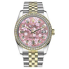 Rolex Datejust Stainless Steel/ 18K Gold Pink Flower Diamond Dial Jubilee 26mm Womens Watch