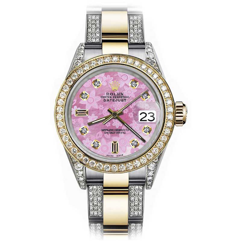 """Image of """"Rolex Datejust Stainless Steel/ 18K Yellow Gold With Pink Flower"""""""
