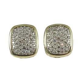 David Yurman 925 Sterling Silver 18K Yellow Gold .42tcw Diamond Noblesse Stud Earrings