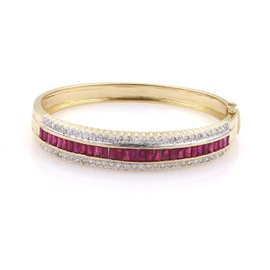 14k Yellow and White Gold 4.00 Ct Ruby and 1.25 Ct Diamond Scallop Edge Bangle Bracelet