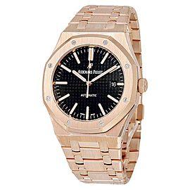 Audemars Piguet Royal Oak 15202 18K Rose Gold Black Dial 41mm Mens Watch